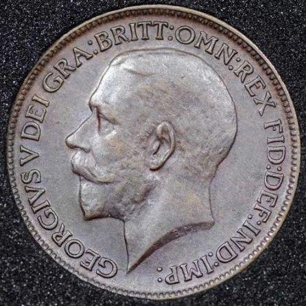 1913 George V Farthing DARKENED Obv