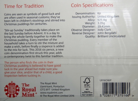 Royal Mint 2016 Christmas Sixpence Packaging Rev
