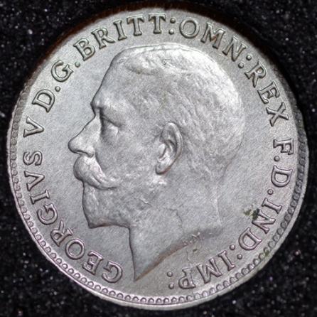 1921 George V Silver Threepence Obv