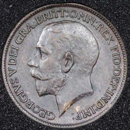 1912 George V Farthing DARKENED Obv