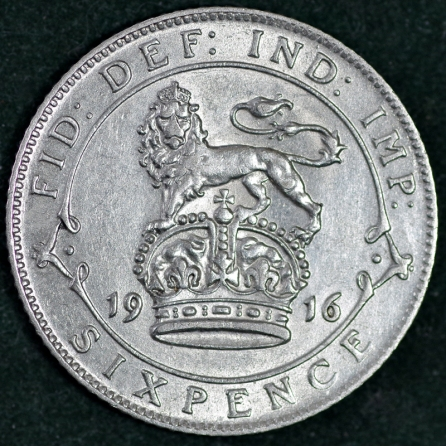 1916 George V Sixpence Rev