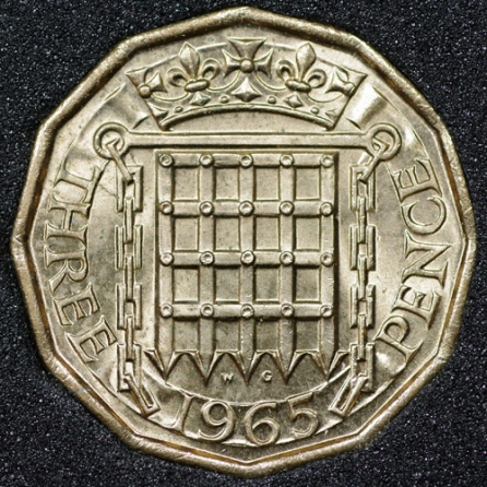 1965 Threepence Rev