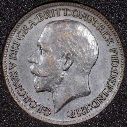 1914 George V Farthing DARKENED 2+A Obv