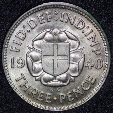 1940 George VI Silver Threepence Rev