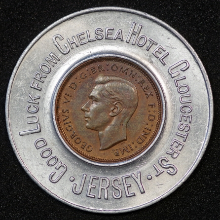 1944 George VI Encased Farthing Chelsea Hotel Obv
