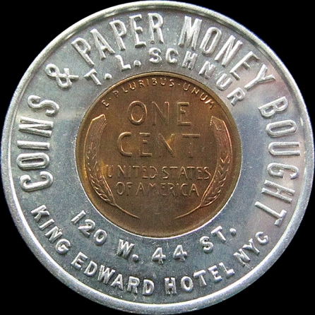 1957 One Cent Encased Coin Coins & Paper Money Bought Rev BB