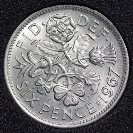 1967 Elizabeth II Sixpence Rev