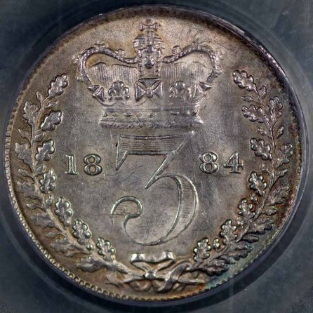 1884 Threepence Rev LC Slabbed 800