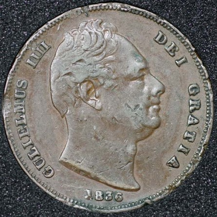 1836 William IV Farthing Obv