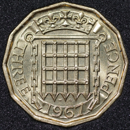 1967 Threepence Rev