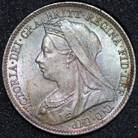 1901 Victoria Sixpence Obv