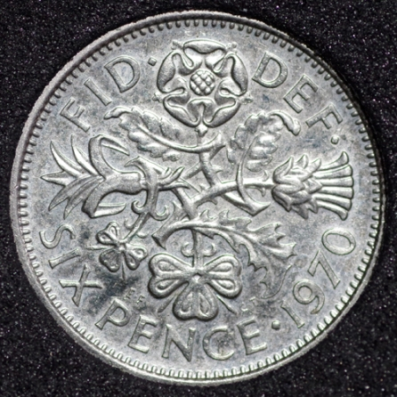 1970 Elizabeth II PROOF Sixpence Rev