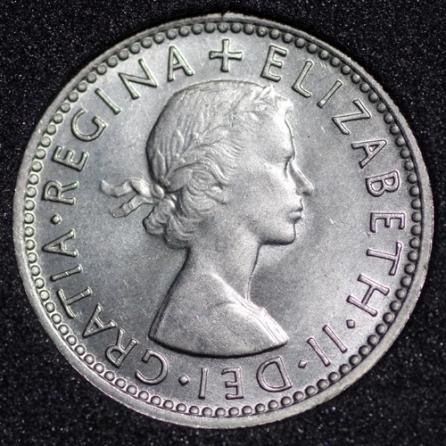 1964 Elizabeth II Sixpence 3+C Obv
