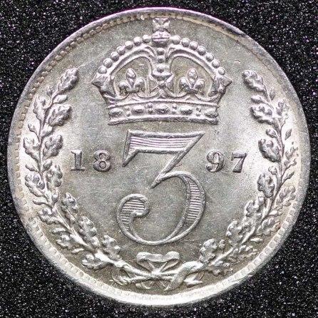 1897 Victoria Silver Threepence Rev