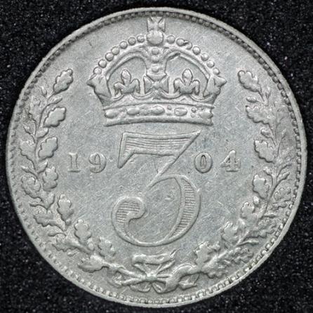 1904 Edward VII Silver Threepence Rev