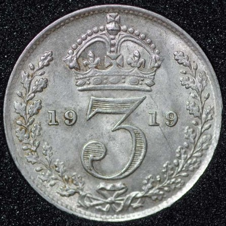 1919 George V Silver Threepence Rev
