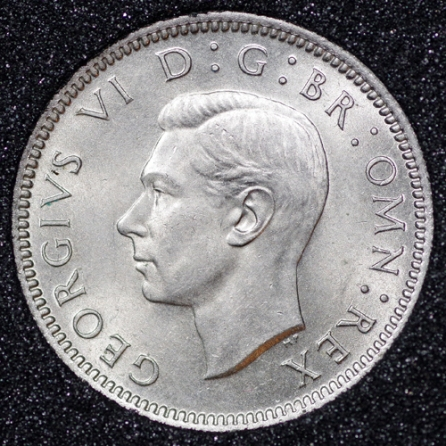 1949 George VI Sixpence Obv
