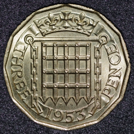 1953 Threepence Rev