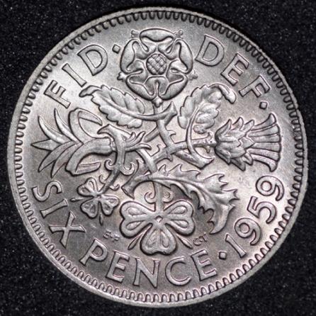 1959 Elizabeth II Sixpence Rev