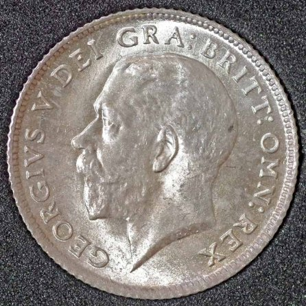 1924 George V Sixpence Obv