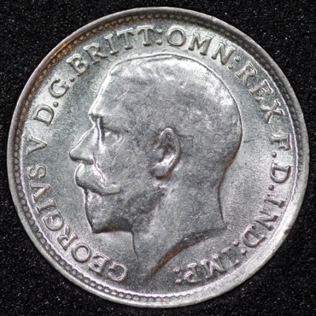 1913 George V Silver Threepence Obv