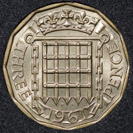 1961 Threepence Rev