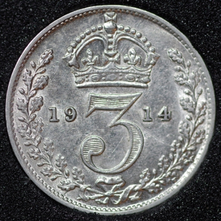 1914 George V Silver Threepence Rev