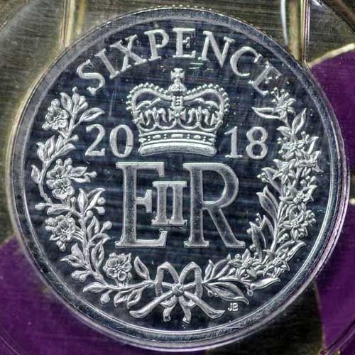 Royal Mint 2018 Christmas Sixpence Rev