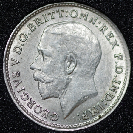 1915 George V Silver Threepence Obv