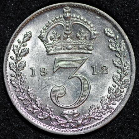 1912 George V Silver Threepence Rev