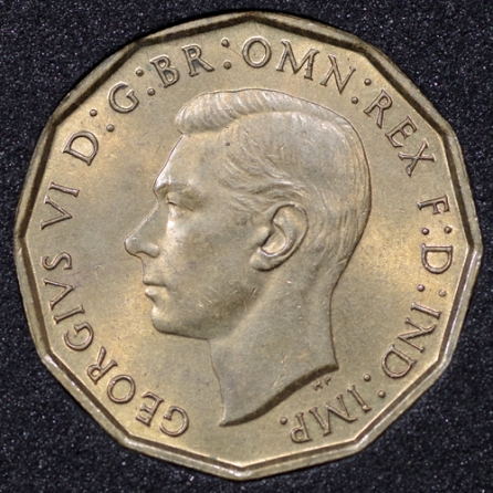 1938 George VI Threepence Obv