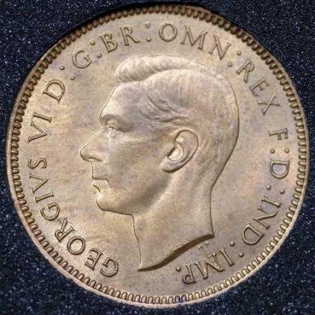 1939 George VI Farthing Obv