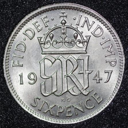 1947 George VI Sixpence Rev