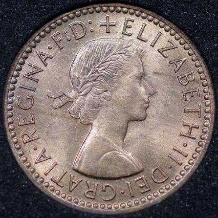 1954 Elizabeth II Farthing Obv