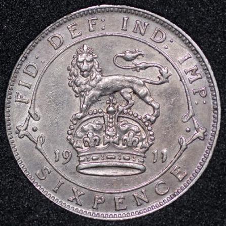 1911 George V Sixpence Rev