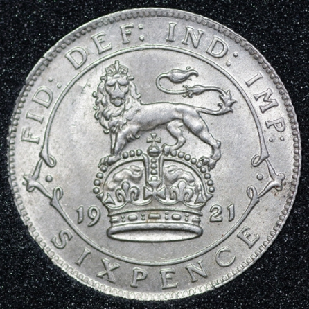1921 George V Sixpence Rev