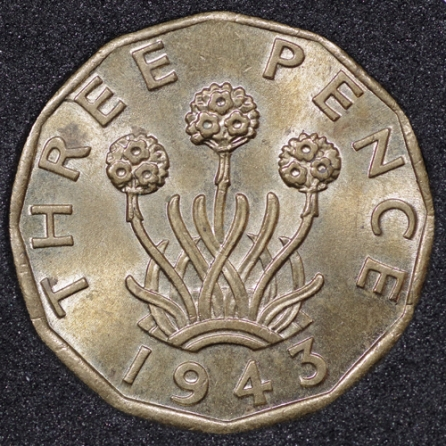 1943 George VI Threepence Rev