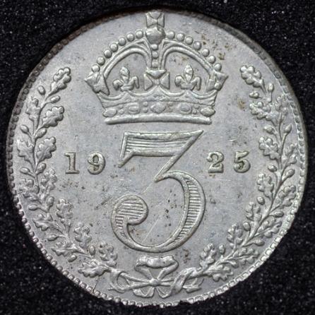 1925 George V Silver Threepence Rev