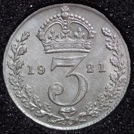 1921 George V Silver Threepence Rev