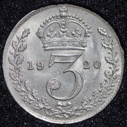 1920 George V Silver Threepence Rev