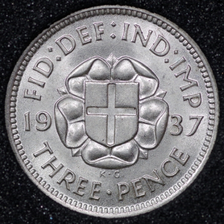 1937 George VI Silver Threepence Rev
