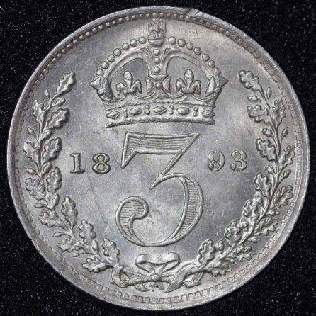 1893 Victoria Silver Threepence Rev