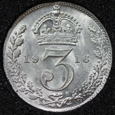 1916 George V Silver Threepence Rev