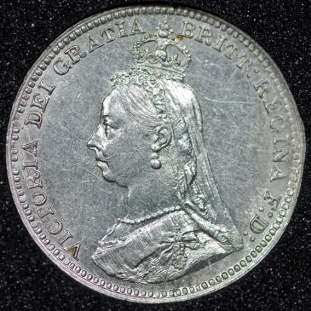 1890 Victoria Silver Threepence Obv