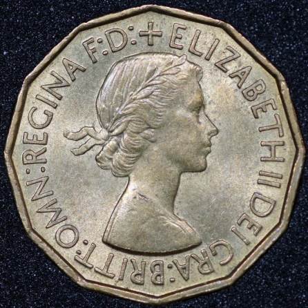 1953 George VI Brass Obv 2 Threepence Obv