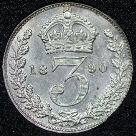 1890 Victoria Silver Threepence Rev