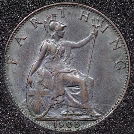 1903 Edward VII Farthing DARKENED Rev