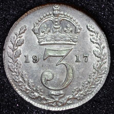 1917 George V Silver Threepence Rev