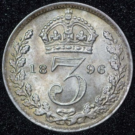 1896 Victoria Silver Threepence Rev