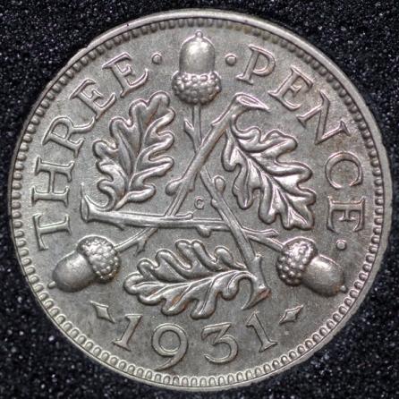1931 George V Silver Threepence Rev